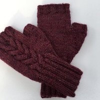 Hand knit fingerless mitts, purple tweed fingerless mitts. Texting gloves.