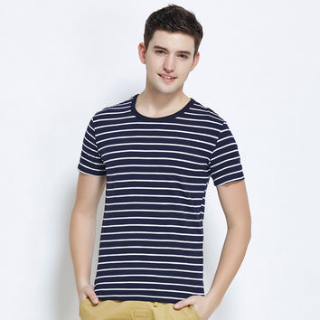 T-shirts Korean Casual Stripes Round-neck Slim Cotton Men's Fashion Bottoming Shirt [6543945411]