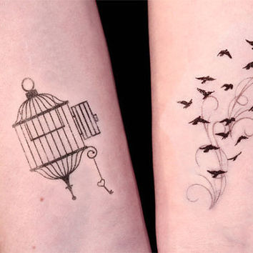 23729e922 Open Cage and Birds in Flight Temporary Tattoo set by TattooMint