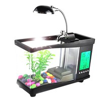 USB acrylic mini fish tank aquarium led lighting light with alarm clock for living room bedroom desk decoration accessories