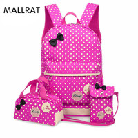 MALLRAT Backpack For Girls Teenagers School Bags 3 Pcs/Set Schoolbag Large Capacity Dot Printing School Rucksack Cute Book Bag