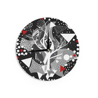 "Marianna Tankelevich ""Geometric Play"" Black Red Wall Clock"
