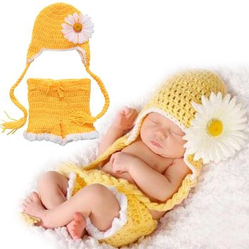 Newborn Baby Girls Boys Crochet Knit Hat Shorts Costume Photography Prop Outfits