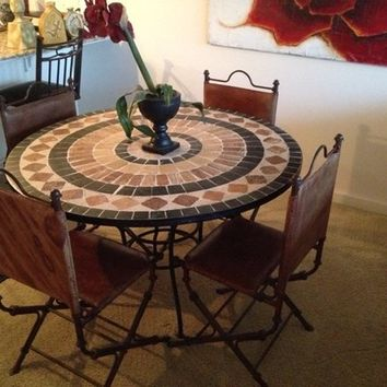 Mexican Tiled Table & Distressed Leather Chairs