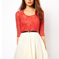 Half Sleeve Floral Lace Pleated Belted Mini A-line Dress