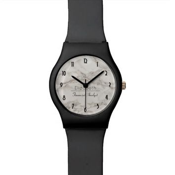 Faux Marble Alabaster Modern Personalized Watch
