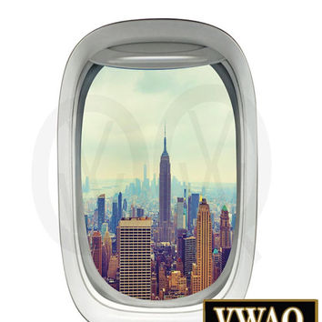 New York City Empire State Building Airplane View Window Decal Vinyl Decal View Mural Peel and Stick Aviation Decor PW12