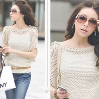 Fashioncity New Brand Hot Women Casual Beige Knitted Batwing Hollow Pullover Jumper Loose Sweater TopSUN37264 = 1920342404
