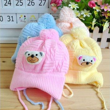 Baby Boy Girl Infant Toddler Cute Soft Crochet Bear Hat Beanie Warm Newborn Cap [8833424268]