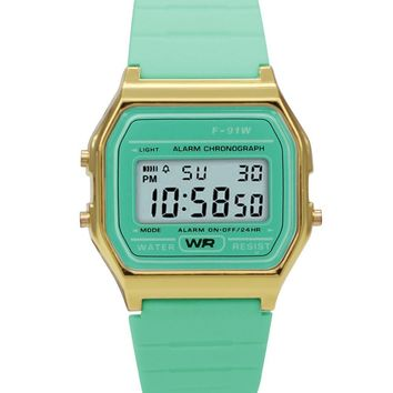 Sporty Light Green Silicon Digital Watch