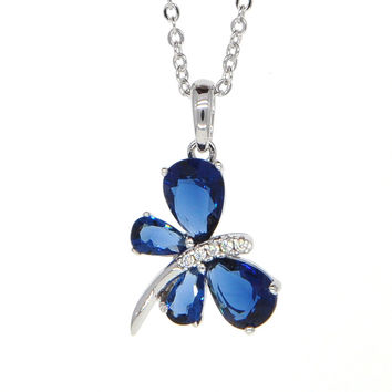 Dear Deer White Gold Plated Blue Cubic Zirconia Butterfly Pendant Necklace