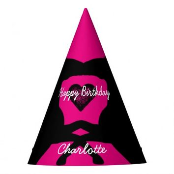 Bright Pink Party Hats Horses Personalized