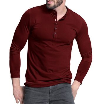 Men's Henley Long Sleeve Slim Fit Plain Shirt