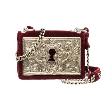 Prada Cahier Small Lock Velvet Trunk Crossbody Bag Burgundy