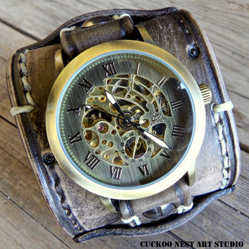Leather Watch, Men's watch, Distressed Black Leather Cuff, Bracelet Watch, Cuff Watch, Mechanical Watch, Steampunk