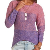 Oversized Ombre High-Low Sweater by Charlotte Russe - Pink Combo