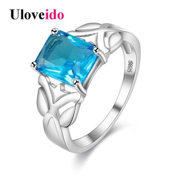 Uloveido Costume Jewelry Rings for Women Silver Color Wedding Ring Rectangle Blue Zircon Ringen Alibaba-express Jewellery Y005