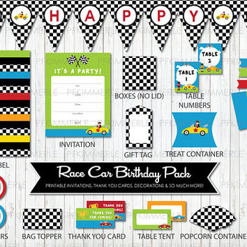 Race Car Birthday, Printable Party Pack,DIY, Banner, Invitation, Favors, Cupcake Toppers, Decorations, Roar, First, Kid Party
