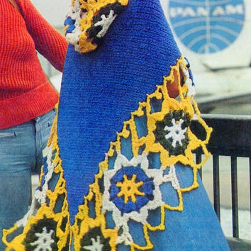Vintage pattern PDF Instant Download Hooded shawl 1970 Vintage Crochet shawl Afghan medallion shawl Crochet Pattern Instant Download