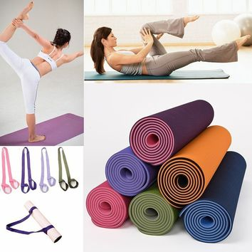 Nine Color Fitness Yoga Mat Shoulder Strap Yoga Belt Exercise Mat with Rope Two-way Elastic Yoga Strap
