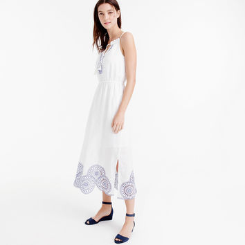 Linen dress with eyelet detail