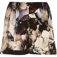 River Island Womens Grey abstract floral print shorts