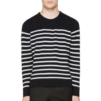 A.p.c. Navy And Grey Striped Sweater