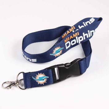 6pcs Miami Dolphins Lanyards Neck Strap For ID Pass Card Badge Gym Key / Mobile Phone USB Holder USA DIY Hang Rope Lanyard