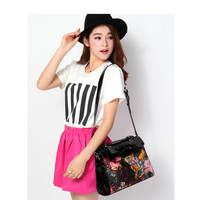 Gorgeous Black Bow Embellishment Flower Painting Handle Messenger Shoulder Bag