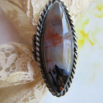 Vintage Sterling Moss Agate Ring  Native American