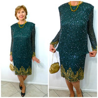 Vintage Beaded  Dress Emerald Gold Silk Flapper Dress Brilliante  J.A. Cocktail Party Gown M