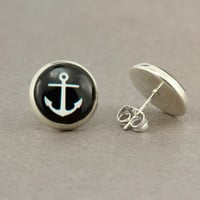 Fake Plugs Anchors Away : Nautical Stud Earrings, Fake Plugs, Black and White, Bohemian, Boho Chic by OAKWILDE on ETSY