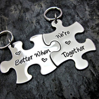 Better When We're Together - Couple's / Best Friends Interlocking Puzzle Keychain - Metal Stamped - SLC Original Design