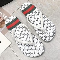 GUCCI Summer Trending Women Casual Stripe Flat Sandal Slipper Shoes Flip-Flops White
