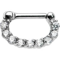 "14 Gauge 1/4"" Surgical Steel Clear CZ Septum Clicker"