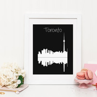 Toronto Skyline - Toronto City Poster - Toronto Poster - Toronto Wall Art - Home Decor - Print - Graphic Print - City Print - Wall Decor