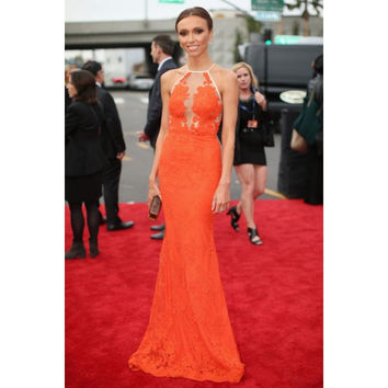 Halter Lace Applique Celebrity Dresses Sleeveless Evening Dresses 2017 Sexy Orange Lace Mermaid Prom Dresses 1492