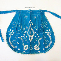 Vintage Embroidered Apron, Bohemian / Blue and White, Small to Medium