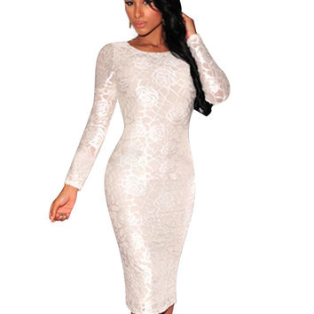 Floral Sequin Long Sleeve Bodycon Midi Dress