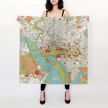 Washington DC Silk Scarf , Vintage map of Washington DC - Conversation Piece women' s