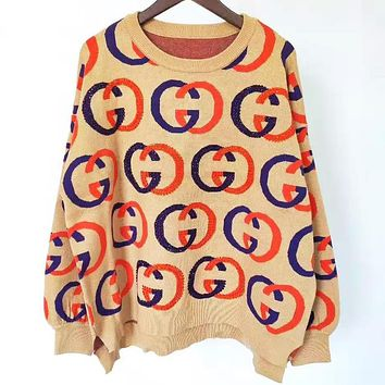 GUCCI Autumn And Winter Fashion New More Letter Long Sleeve Sweater