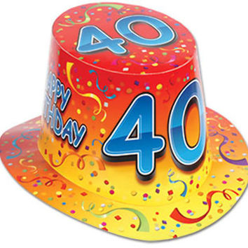 happy 40 birthday hi-hat (one size fits most) - style #211 Case of 25