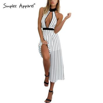 PEAPGB2 Simplee Apparel sexy deep v neck chiffon striped women jumpsuit romper Sleeveless girl playsuit Halter backless straight macacao