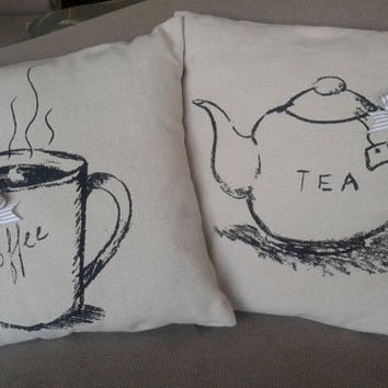 "Coffe or Tea printed pillow with a stripe bow dim. 18""x18"" (45x45cm)"
