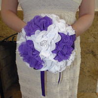 Bridal Bridesmaid Bouquet Purple and White with Rhinestone and Pearl Brooches Fabric Flowers Brooch Flower Girl In Stock Not A Deposit
