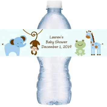 21 Safari Baby Shower Water Bottle Labels