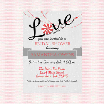 Love Sweet Love Winter Bridal Shower Invitation. Christmas Wedding Shower.  Red, Black & White Bridal Shower Invite. Love is sweet invite.