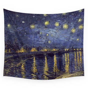 Society6 Vincent Van Gogh Starry Night Over The R Wall Tapestry