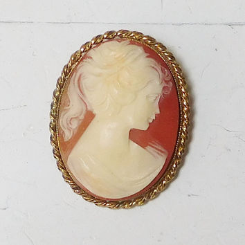 Vintage Victorian Edwardian Lady Cameo Brooch Necklace Young Lady Shell Cameo Pin Pendant Carved Silhouette Lady Profile Steampunk