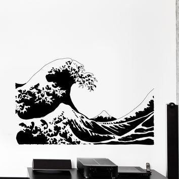 Vinyl Wall Decal Japan Japanese Waves Ethnic Eastern Home Cozy Big Decor Unique Gift z4448